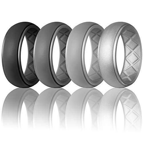Premium Silicone Wedding Ring for Men, Particularly Breathable Mens' Rubber Wedding Bands, Size 7 8 9 10 11 12 13 14, for Athletes Crossfit Workout