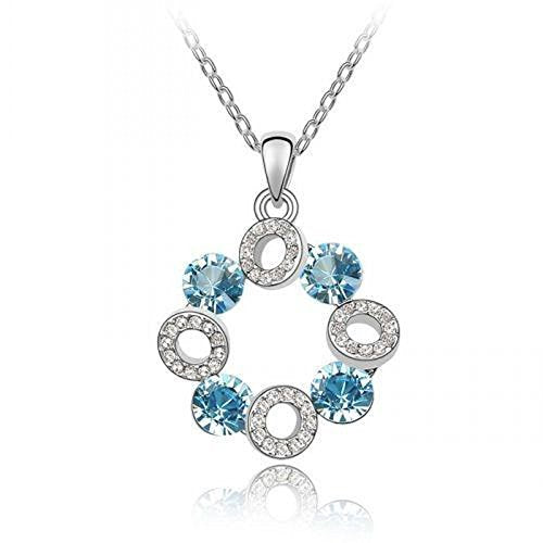 Sparkling Blue Colored and Clear Circles Charm Necklace 141 - New Wedding Rings