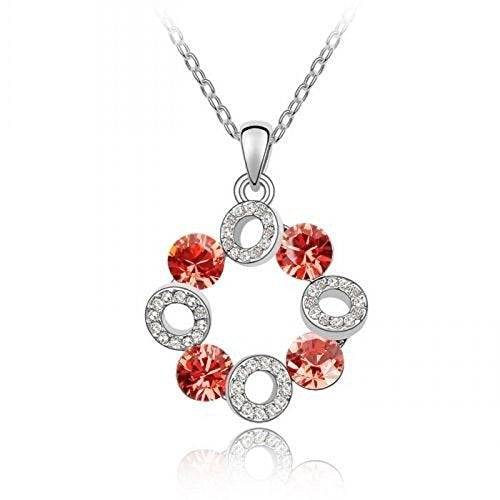 Sparkling Red Colored and Clear Circles Charm Necklace 192 - New Wedding Rings