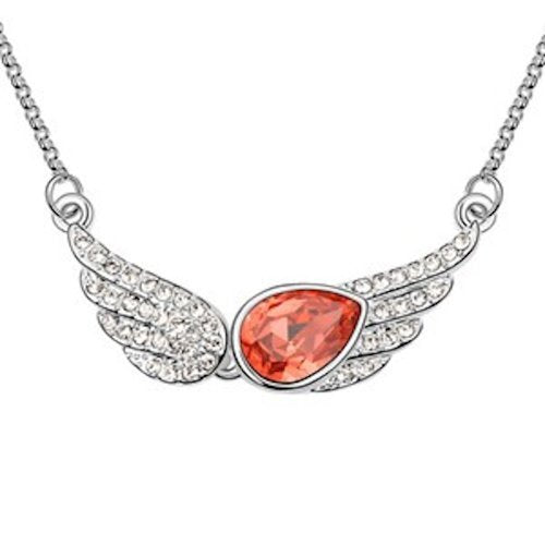 Sparkling Red Colored and Clear Winged Charm Necklace 1427 - New Wedding Rings