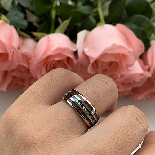 Premium 8mm Tungsten Rings for Men Women Wedding Bands Abalone Shell and Koa Wood Inlay Domed Polished Shiny Comfort Fit