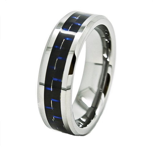 7mm Tungsten Carbide with Blue & Black Carbon Fiber Inlaid Wedding Ring Size 4-15 - New Wedding Rings