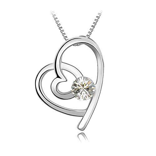 Blue Chip Unlimited Sparkling Clear Looped Heart Charm Necklace 126 - New Wedding Rings