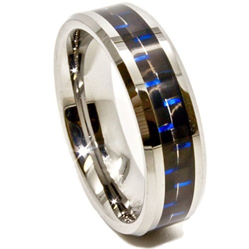 6mm Tungsten Carbide Ring with Black & Blue Carbon Fiber Inlay Wedding Band Size 4 - New Wedding Rings
