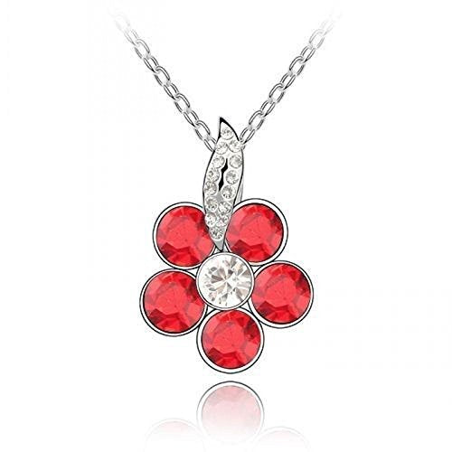 Sparkling Red Colored and Clear Flower Charm Necklace 199 - New Wedding Rings