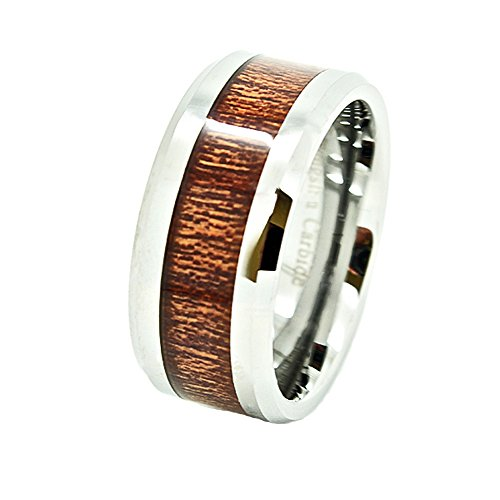 10mm Wide Wood Grain Inlaid Tungsten Wedding Band Size 7-16 - New Wedding Rings