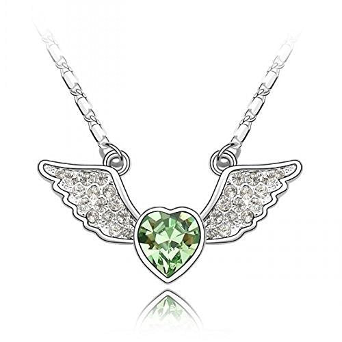 Sparkling Green Colored and Clear Flying Heart Charm Necklace 196 - New Wedding Rings