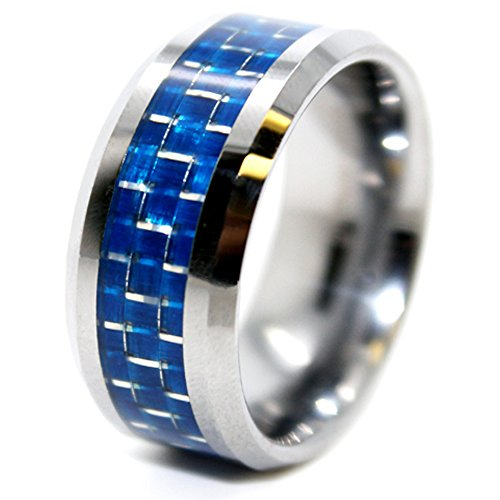 Unique 10mm Tungsten Carbide Ring with Blue Carbon Fiber Inlay Wedding Band Size 10 - New Wedding Rings