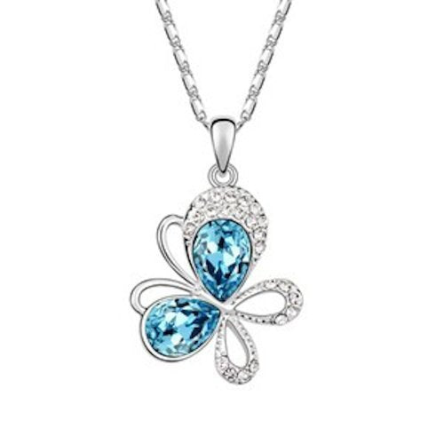 Sparkling Blue Colored and Clear Tilted Butterfly Charm Necklace 1401 - New Wedding Rings