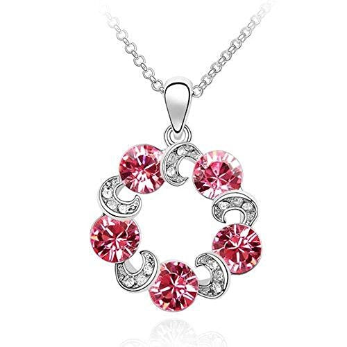 Sparkling Pink Colored and Clear Circles Charm Necklace 200 - New Wedding Rings