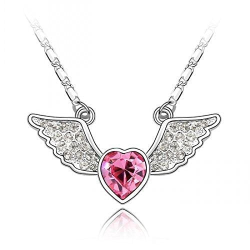 Sparkling Pink Colored and Clear Flying Heart Charm Necklace 197 - New Wedding Rings