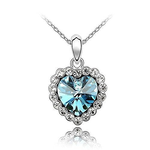 Sparkling Blue Colored and Clear Heart Charm Necklace 109 - New Wedding Rings