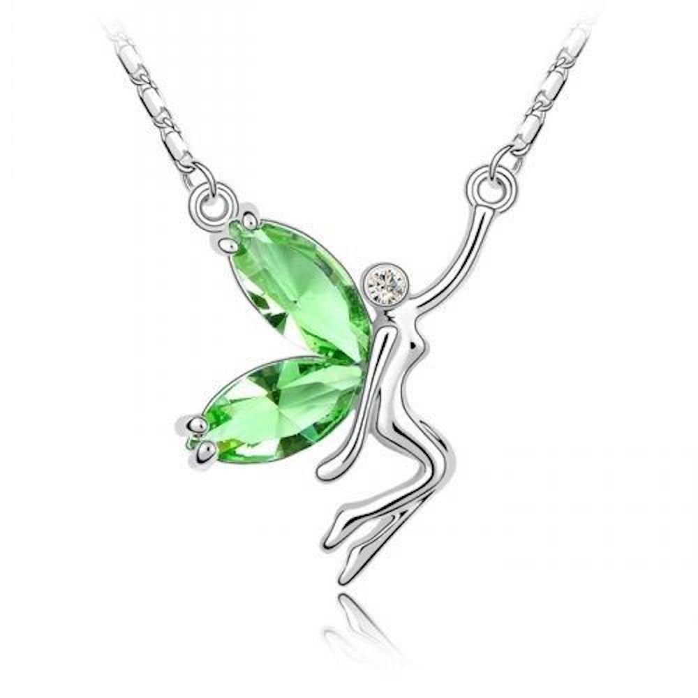 Sparkling Green Colored and Clear Fairy Charm Necklace 153 - New Wedding Rings