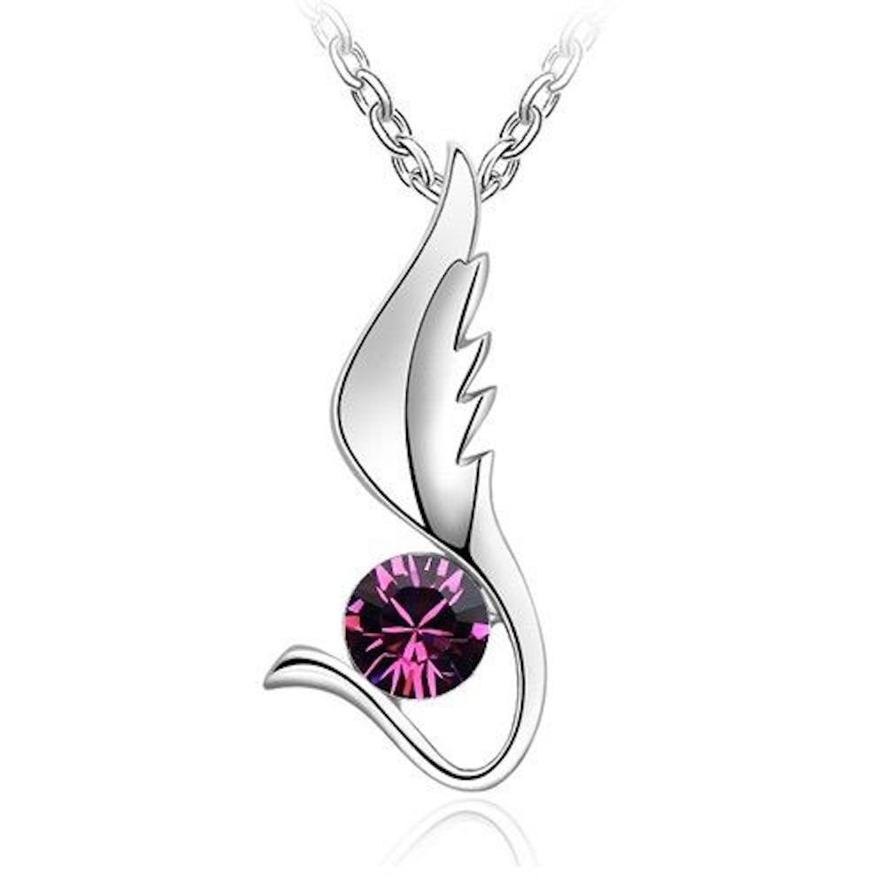 Sparkling Solitaire Dark Pink Colored Wing Charm Necklace 148 - New Wedding Rings