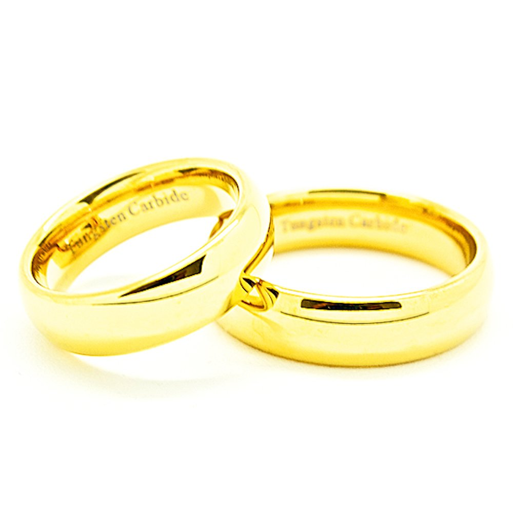 Matching 6mm Classic Domed Golden Colored Tungsten Carbide Wedding Rings (See listing for sizes) - New Wedding Rings