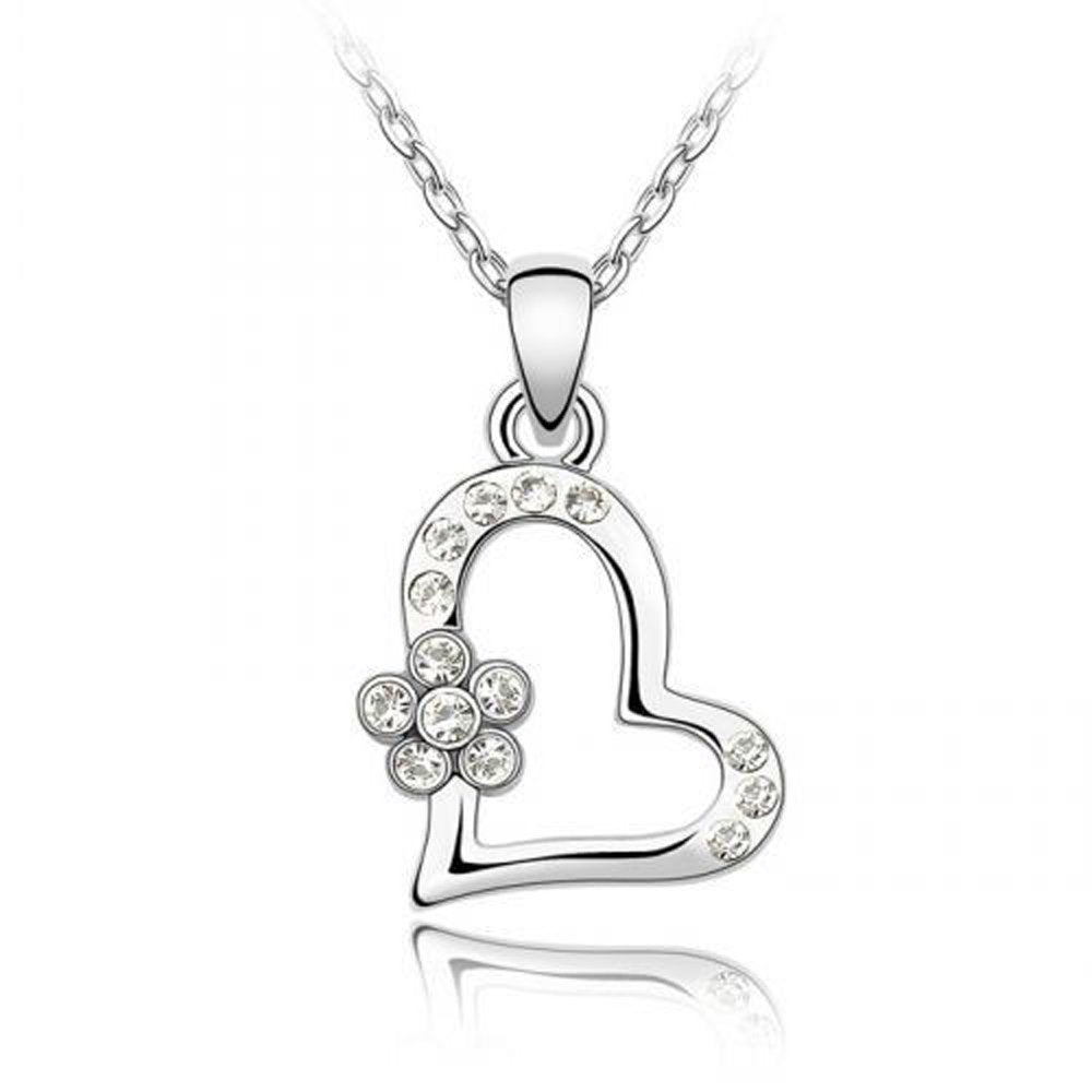 Sparkling Clear Heart and Flower Charm Necklace 105 - New Wedding Rings