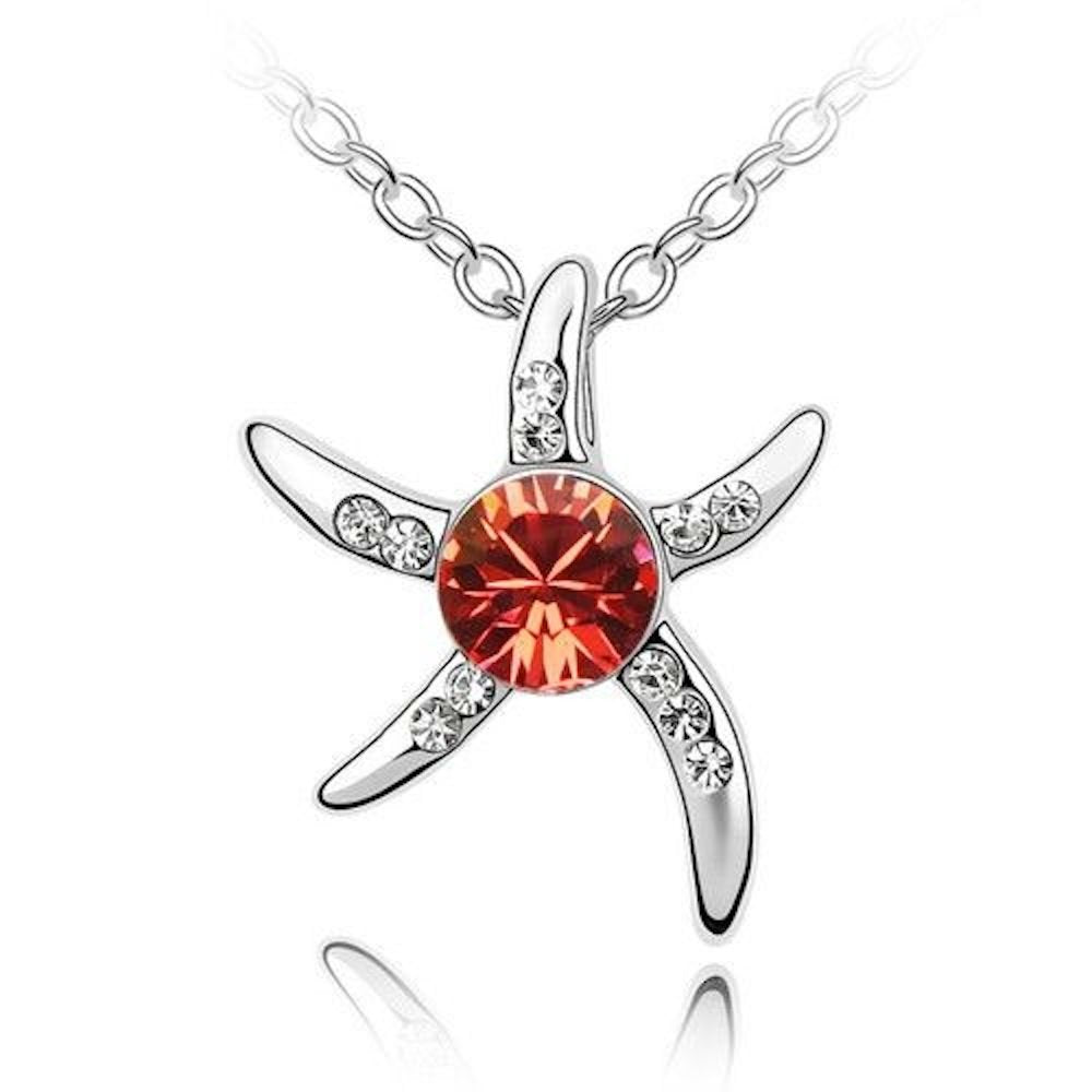 Sparkling Red and Clear Starfish Charm Pendant Necklace 157 - New Wedding Rings