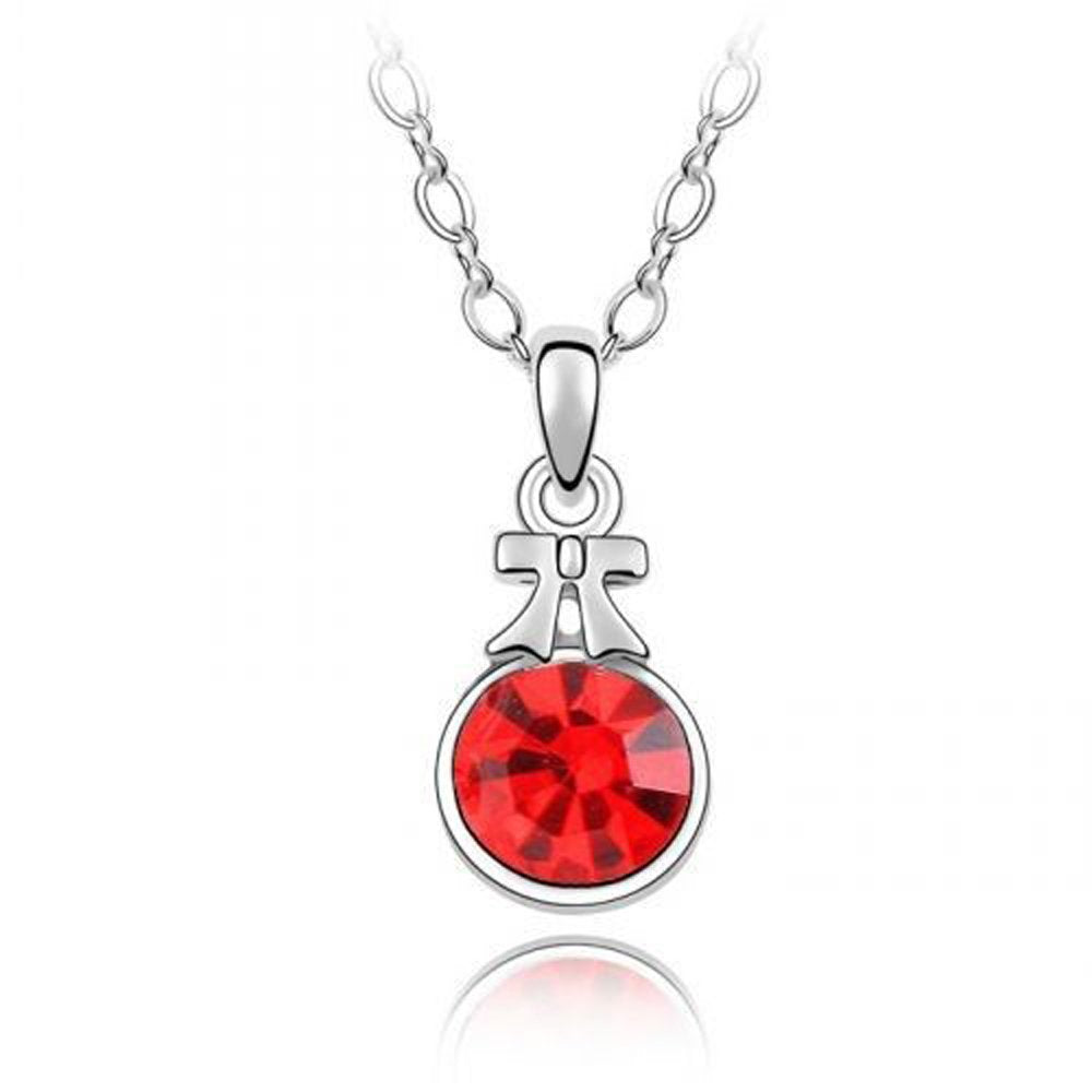 Sparkling Solitaire Red Colored Ribbon Charm Necklace 106 - New Wedding Rings