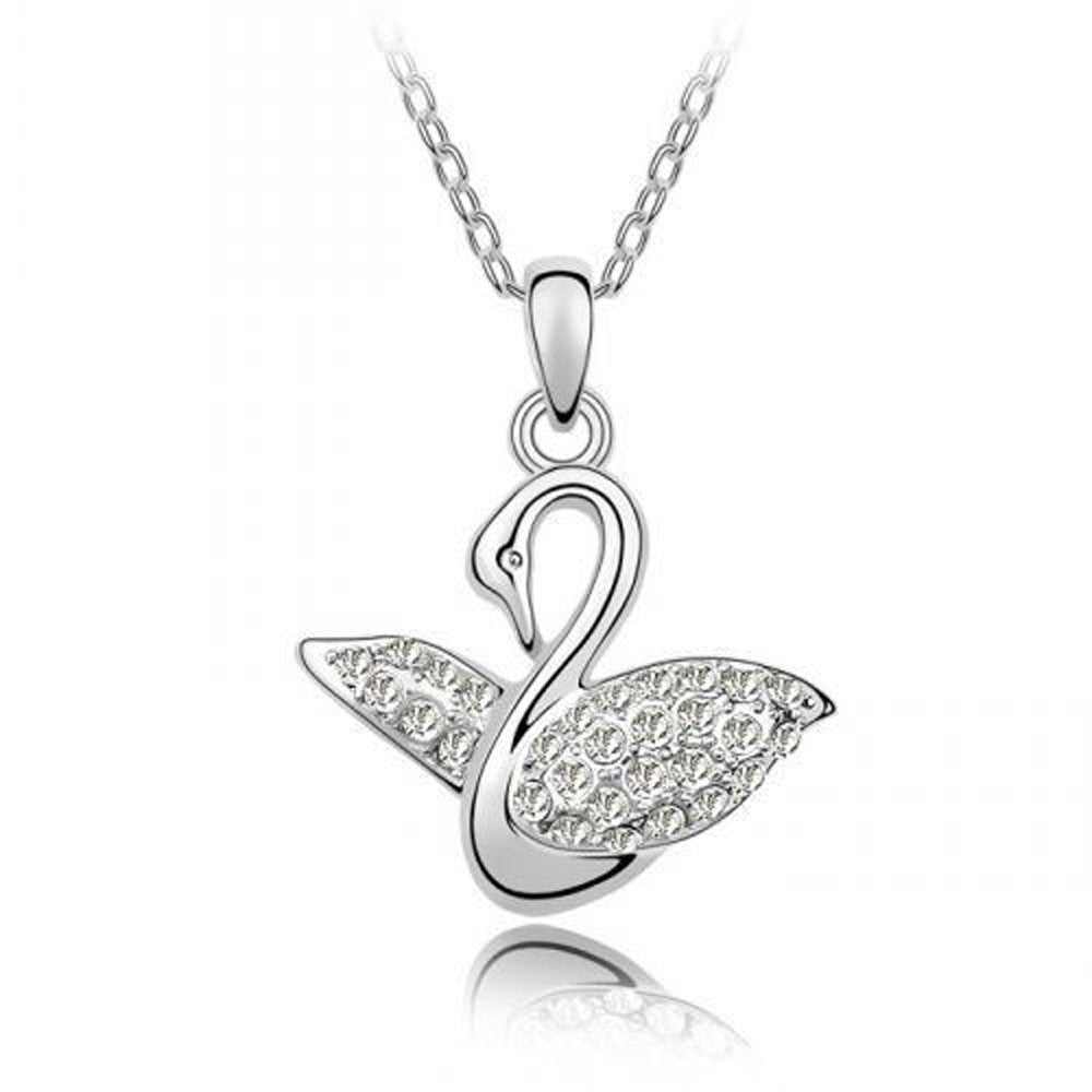 Sparkling Clear Swan Charm Necklace 107 - New Wedding Rings