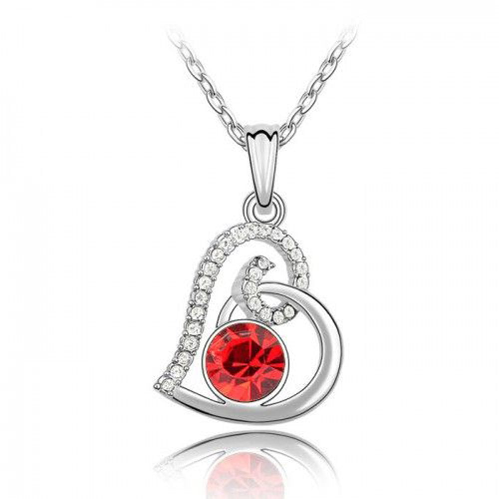 Sparkling Red Colored and Clear Swirled Heart Charm Necklace 122 - New Wedding Rings