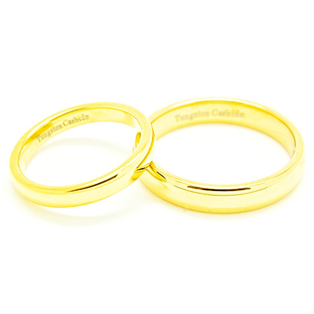 Matching 3mm & 4mm Classic Domed Golden Colored Tungsten Wedding Rings (See listing for sizes) - New Wedding Rings