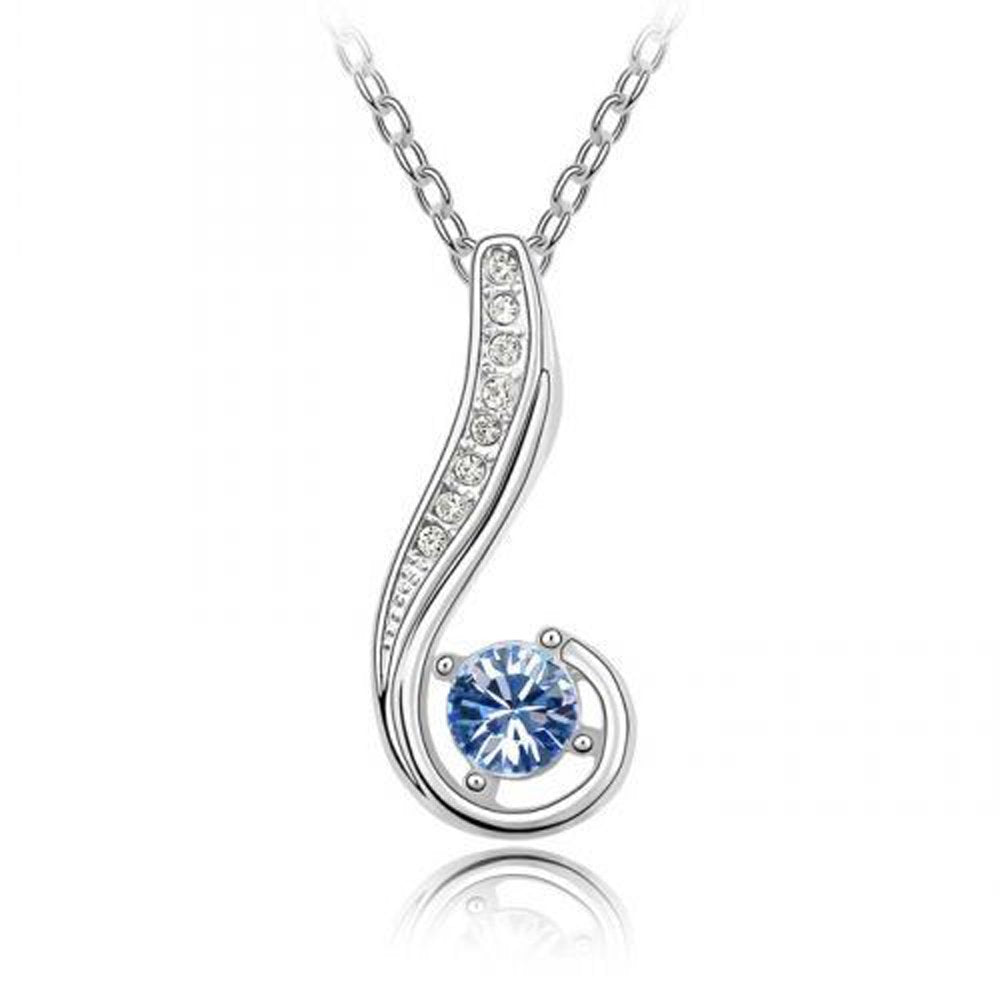 Sparkling Blue Colored and Clear Journey Charm Necklace 128 - New Wedding Rings