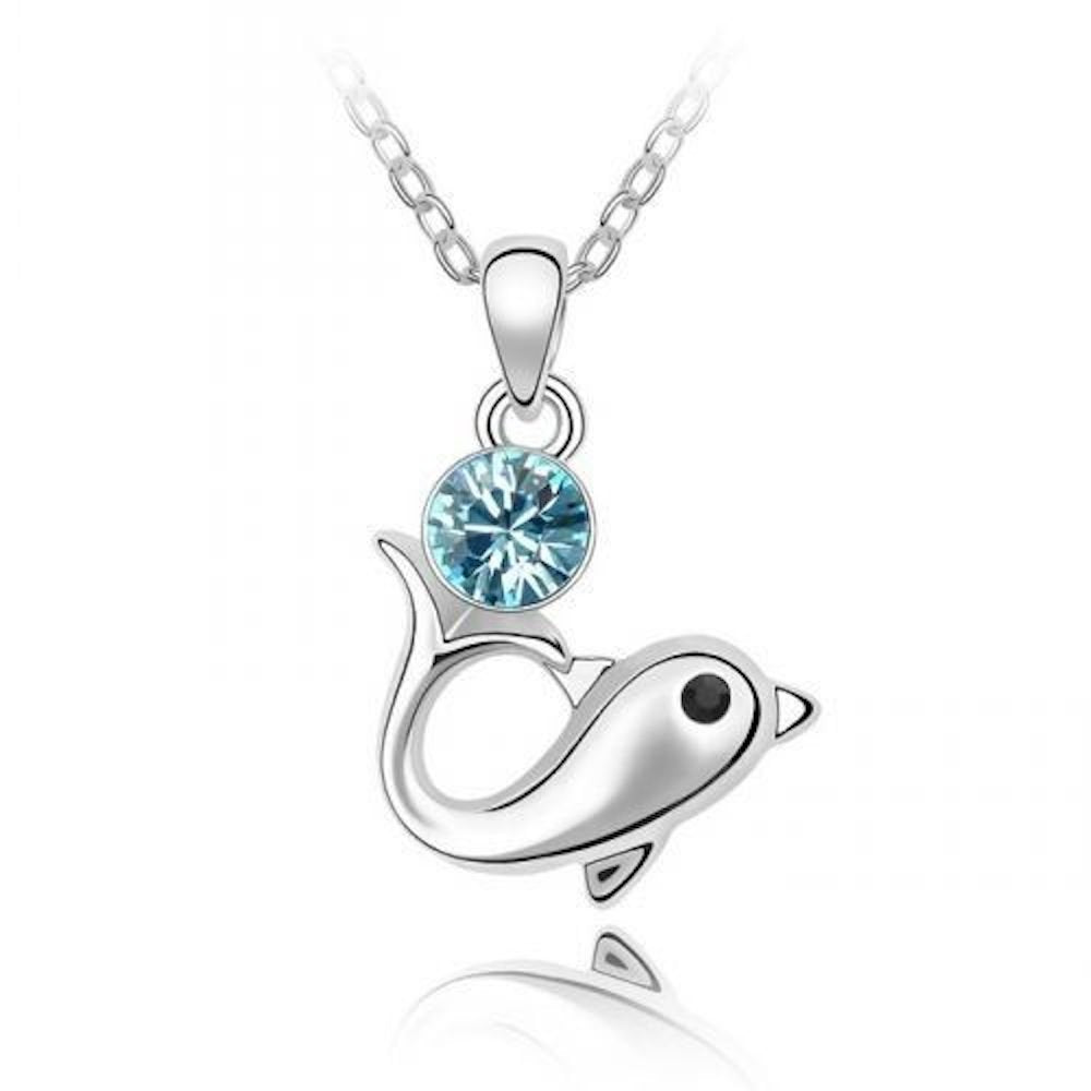 Sparkling Light Blue Colored Dolphin Charm Necklace 156 - New Wedding Rings
