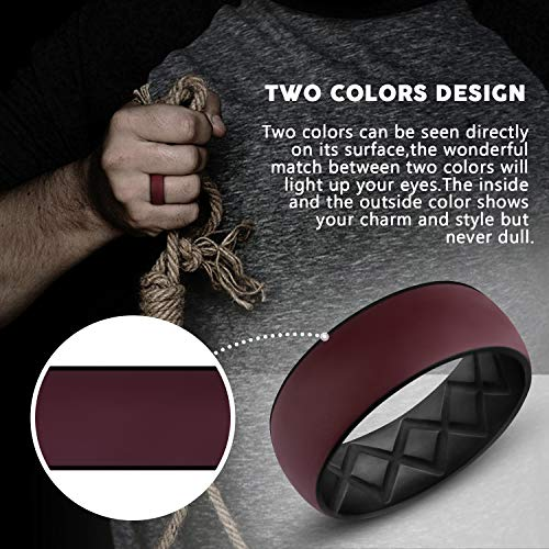 Premium Inner Arc Ergonomic Breathable Design,Silicone Wedding Ring for Men with Dual Color,Breathable Rubber Wedding Bands for Athletes Fitness Workout
