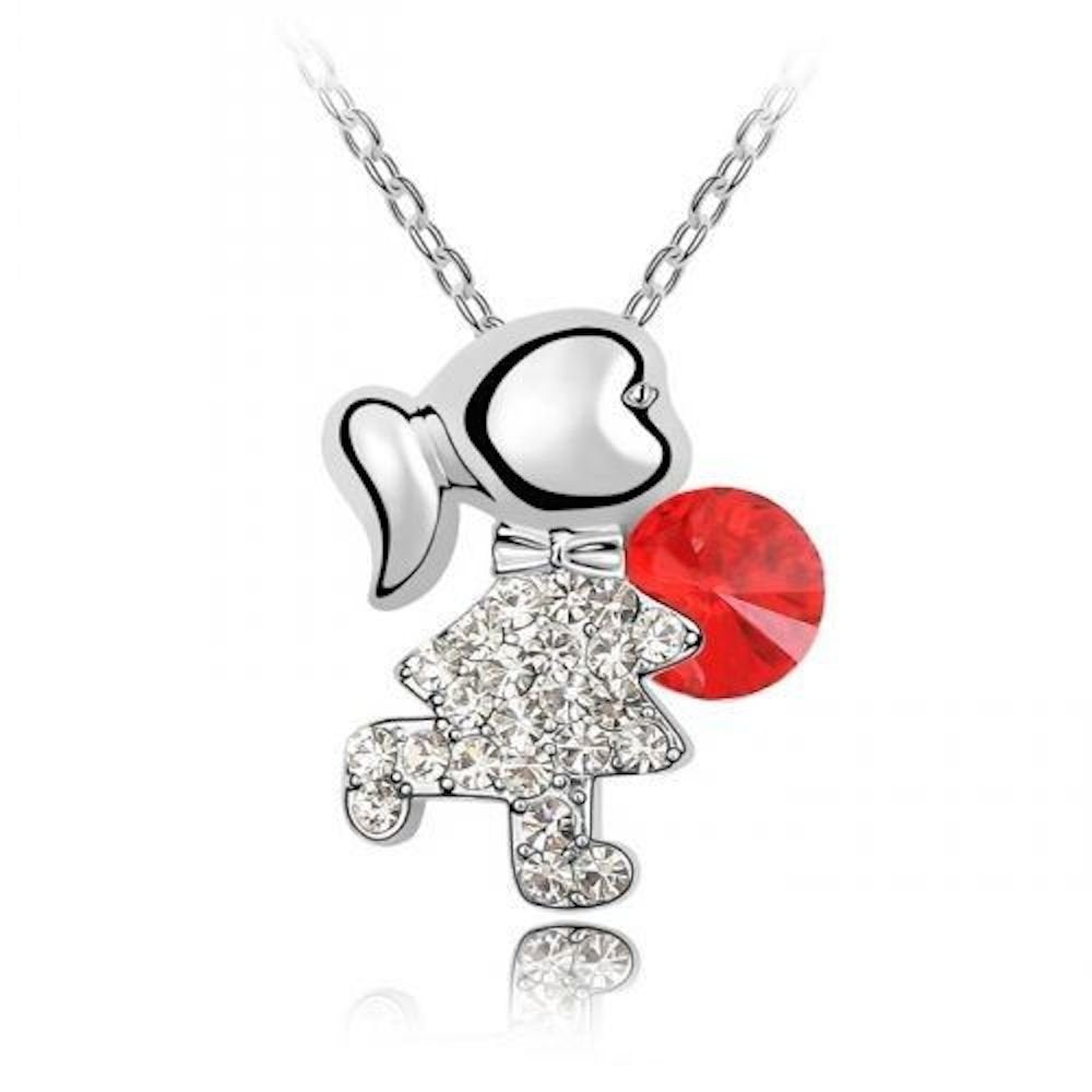 Sparkling Red Colored and Clear Girl Charm Necklace 150 - New Wedding Rings