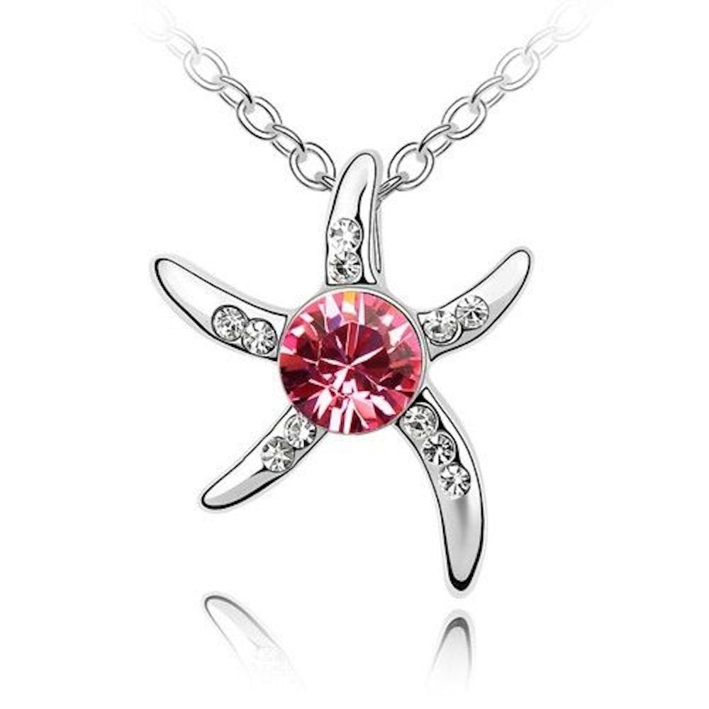 Sparkling Pink and Clear Starfish Charm Pendant Necklace 155 - New Wedding Rings