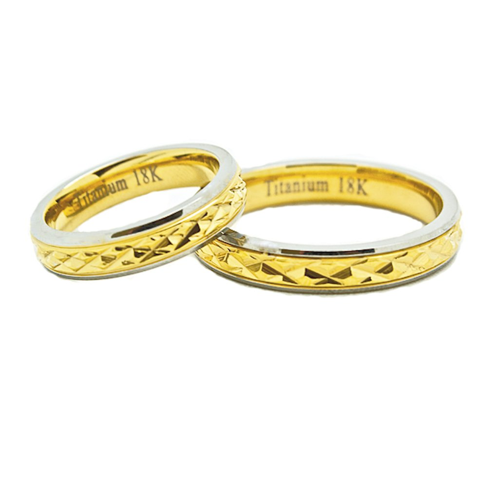 Matching 4mm 18k Gold Middle Facet Titanium Wedding Rings (Check listing for sizes) - New Wedding Rings