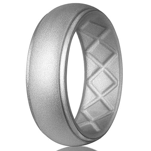 Premium Silicone Wedding Ring for Men, Particularly Breathable Mens' Rubber Wedding Bands, Size 7-14, for Athletes Cross-fit Workout