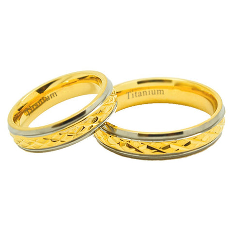 Matching 5mm Golden Colored Middle Facet Titanium Wedding Rings (See listing for sizes) - New Wedding Rings