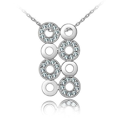 Sparkling Light Blue Colored Circles Charm Necklace 179 - New Wedding Rings