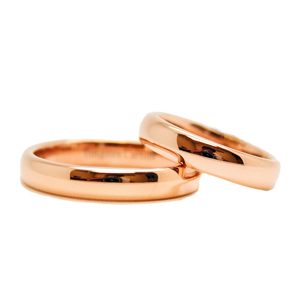 Matching 4mm Golden Rose GOLD Classic Domed Tungsten Carbide Wedding Rings (See Listing for Sizes) - New Wedding Rings