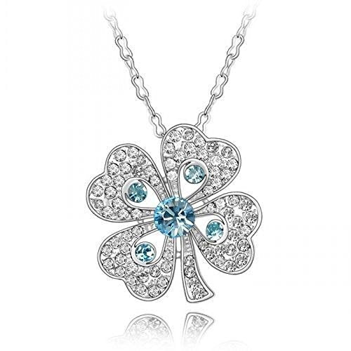 Sparkling Blue Colored and Clear Four Leaf Clover Charm Necklace 194 - New Wedding Rings