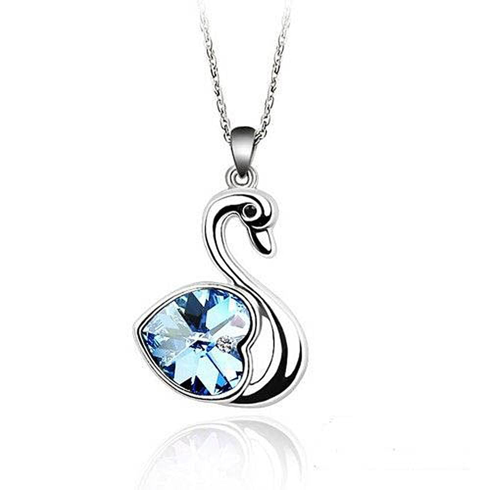 Sparkling Light Blue Colored Heart Swan Charm Necklace 115 - New Wedding Rings