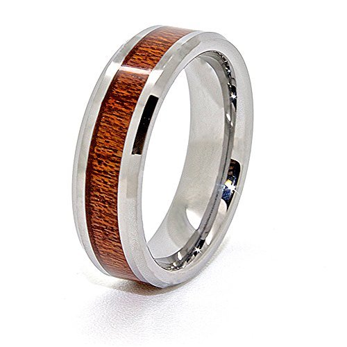 7mm Wood Grain Inlay Tungsten Carbide Wedding Band Size 5-15