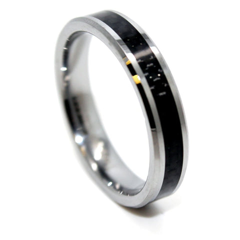 Promise Ring Ultra Thin 5mm Tungsten Carbide Black Carbon Fiber Wedding Band Size 4-16 - New Wedding Rings