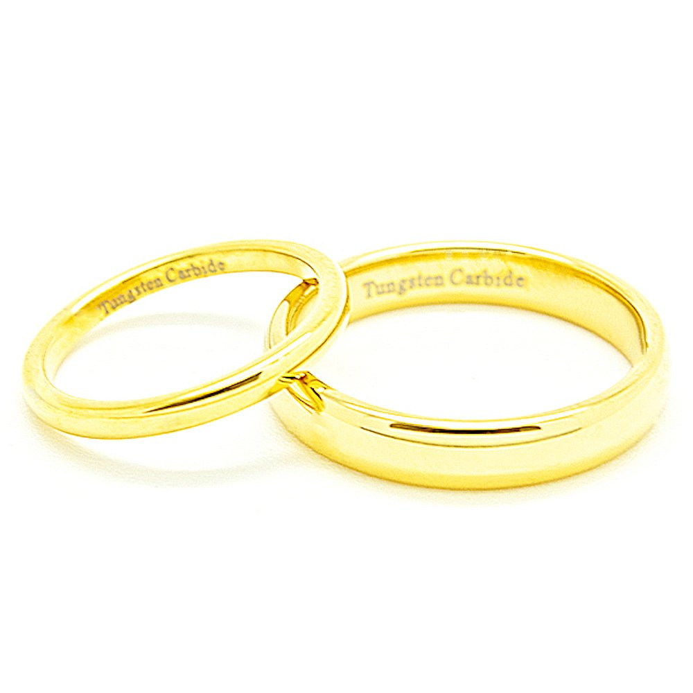 Matching 2mm & 4mm Classic Domed Golden Colored Tungsten Wedding Rings Set (See listing for sizes) - New Wedding Rings