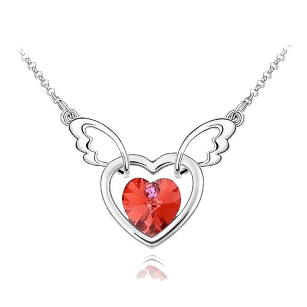 Sparkling Red Colored Winged Heart Charm Necklace 129 - New Wedding Rings
