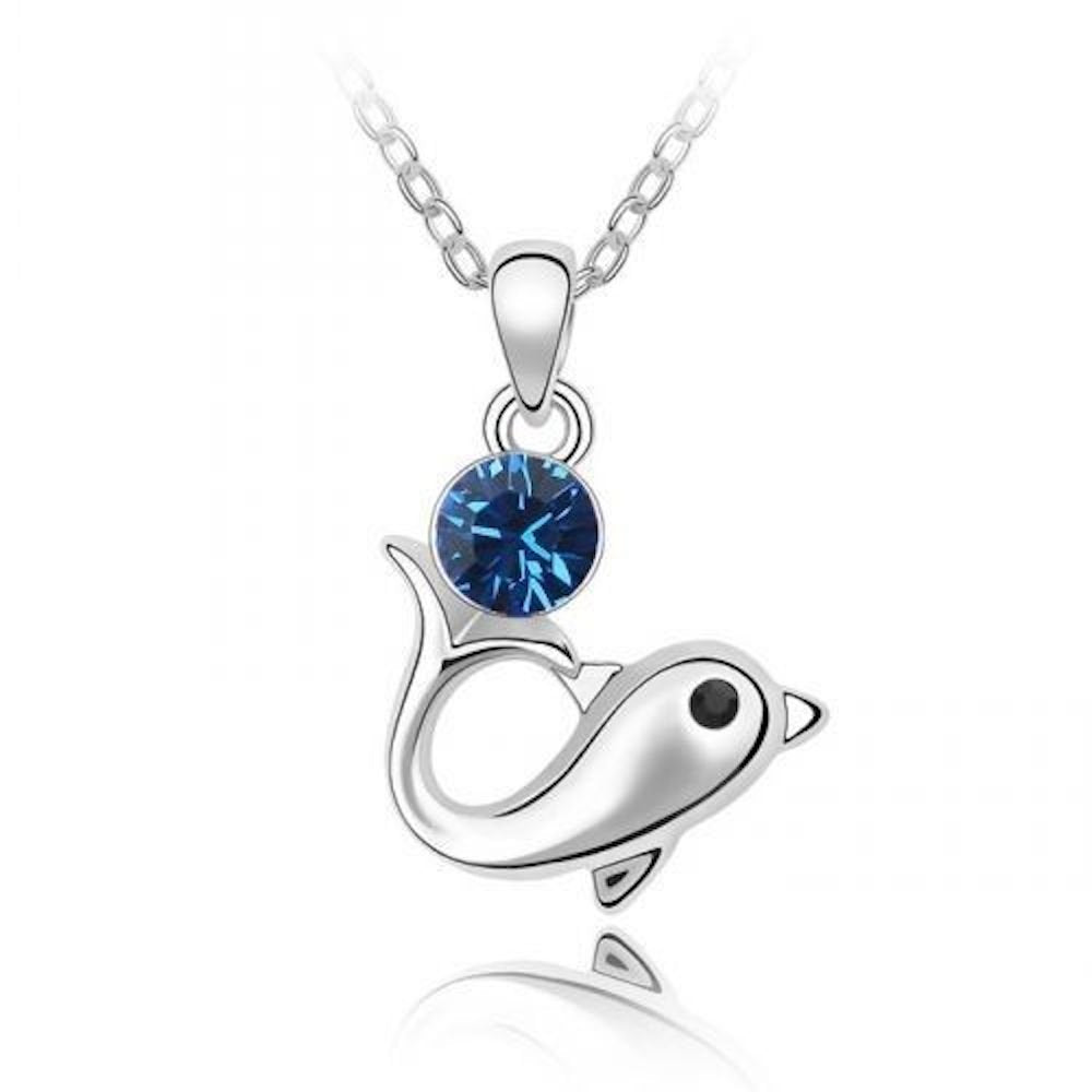 Sparkling Dark Blue Colored Dolphin Charm Necklace 159 - New Wedding Rings