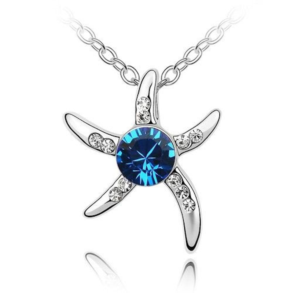 Sparkling Dark Blue and Clear Starfish Charm Pendant Necklace 154 - New Wedding Rings
