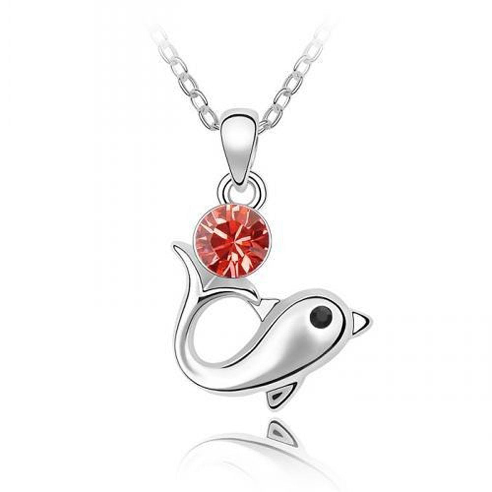 Sparkling Red Colored Dolphin Charm Necklace 113 - New Wedding Rings