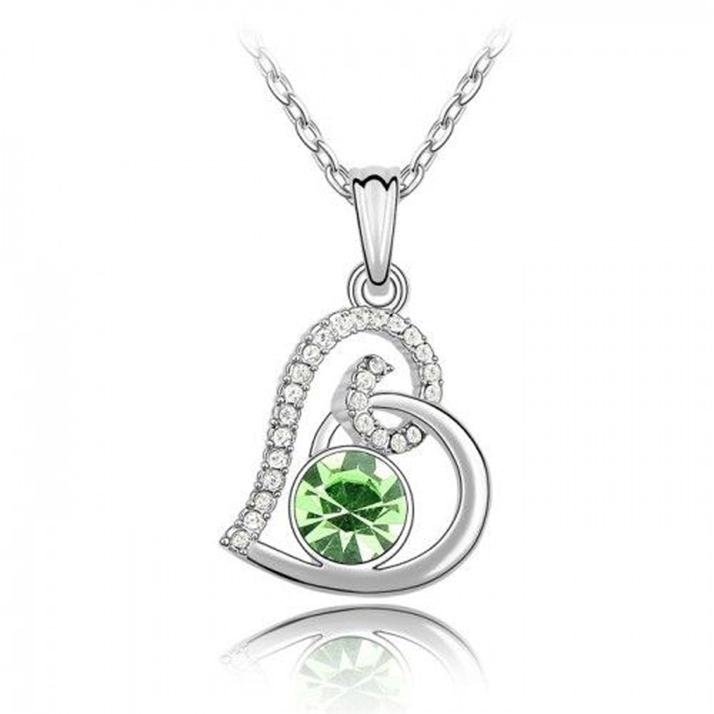 Sparkling Green Colored and Clear Swirled Heart Charm Necklace 119 - New Wedding Rings