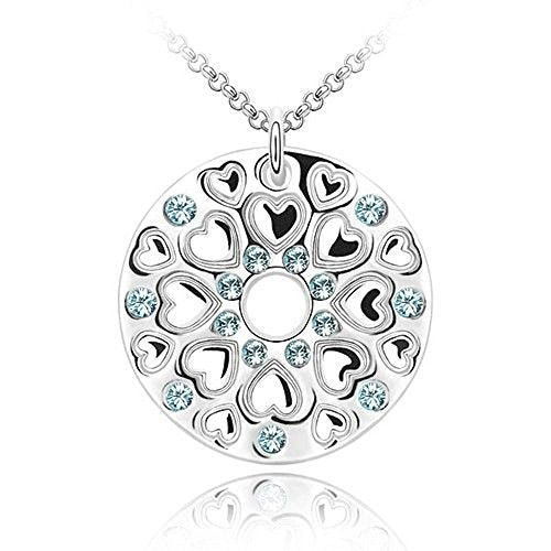 Sparkling Light Blue Colored Circle of Hearts Charm Necklace 181 - New Wedding Rings