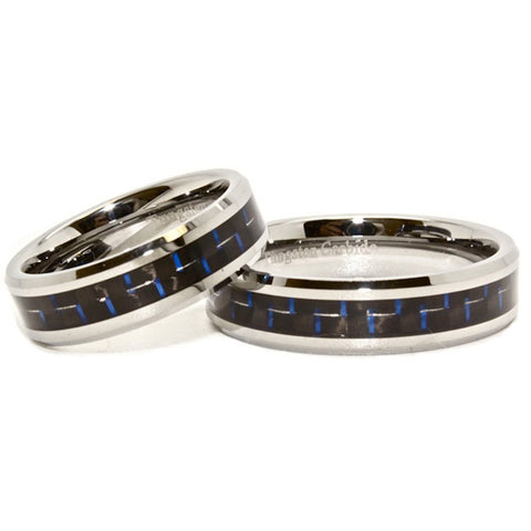 Matching 6mm Blue & Black Carbon Fiber Inlay Tungsten Wedding Rings (See listing for sizes) - New Wedding Rings