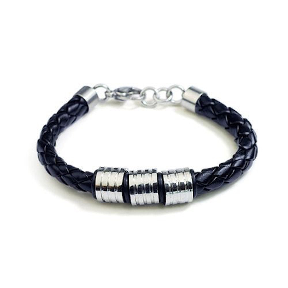 Single Braid Black Leather Bracelet with 3 Triple Grooved Beads L107 - New Wedding Rings