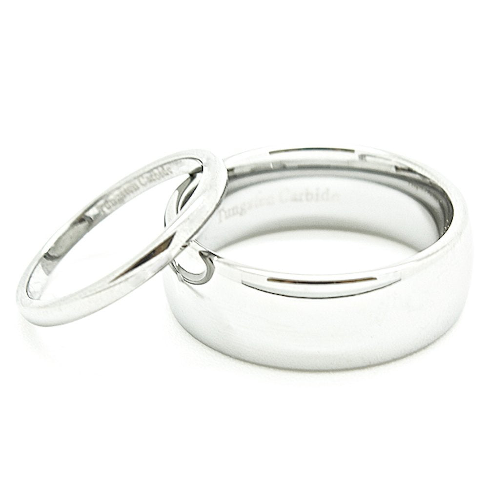 Matching 2mm & 8mm Classic Domed Tungsten Carbide Wedding Rings Set (See Listing for Sizes) - New Wedding Rings