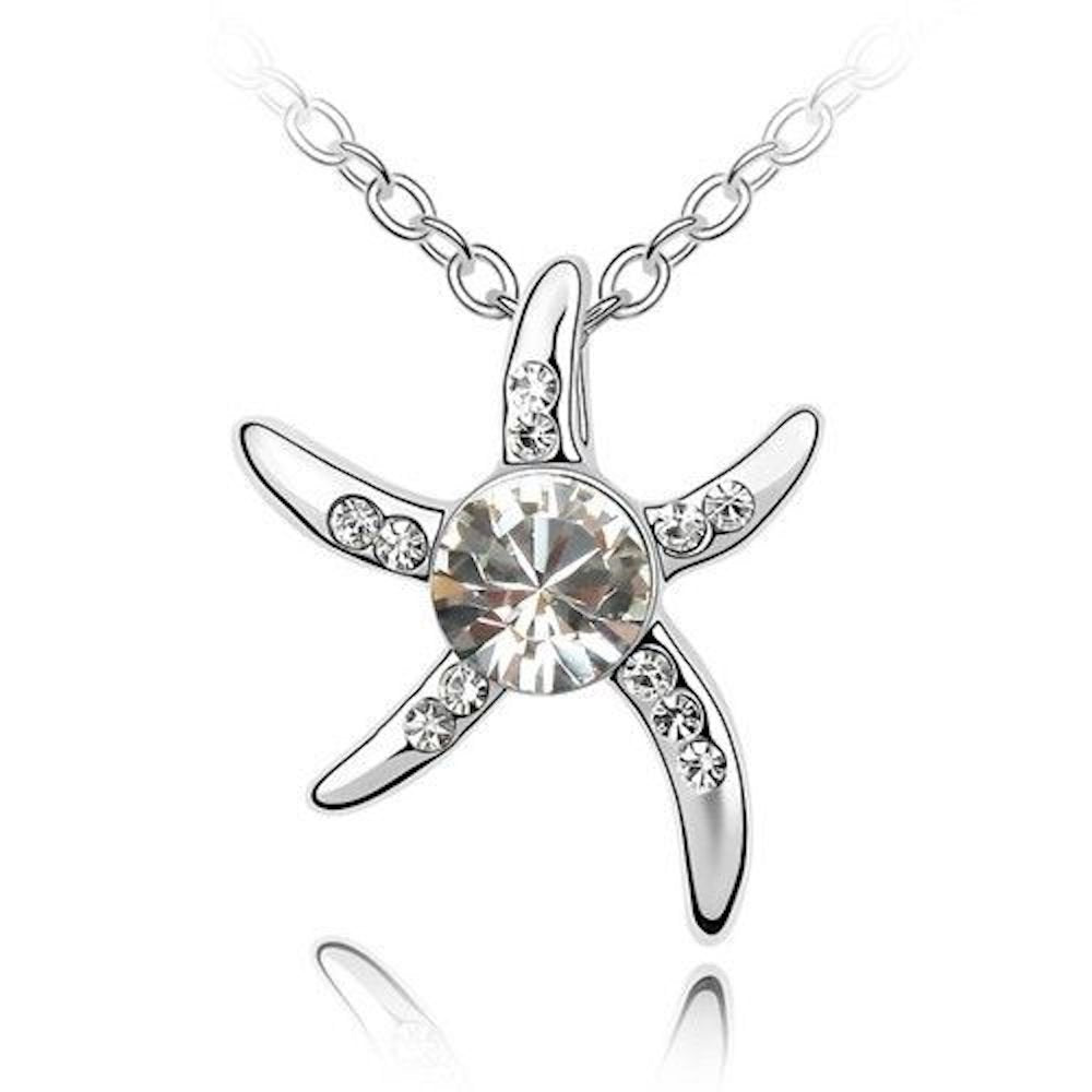 Sparkling Clear Starfish Charm Pendant Necklace 158 - New Wedding Rings